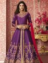 image of Art Silk Fabric Embroidered Purple Color Party Wear Long Anarkali Salwar Kameez