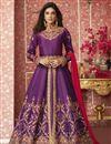 image of Art Silk Fabric Designer Embroidered Long Anarkali Salwar Kameez In Purple Color