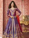 image of Embroidered Light Purple Color Art Silk Fabric Function Wear Long Anarkali Suit