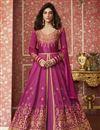 image of Occasion Wear Art Silk Fabric Embroidered Long Anarkali Salwar Kameez In Magenta Color