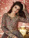 photo of Embroidery Work On Art Silk Fabric Dark Beige Color Wedding Wear Long Anarkali Salwar Suit