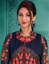photo of Saumya Tandon Georgette Floor Length Fancy Anarkali Dress In Navy Blue