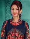 photo of Saumya Tandon Navy Blue Embellished Long Anarkali Suit In Georgette