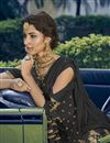 photo of Embroidered Designer Function Wear Sharara Suit In Black Georgette