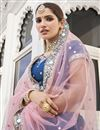photo of Blue Color Sangeet Wear Mirror Work Lehenga In Silk Fabric