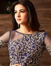picture of Sonal Chauhan Party Wear Blue Color Georgette Fabric Fancy Anarkali Salwar Kameez