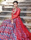 photo of Ready to Ship Designer Fancy Printed Red And Blue Color Satin Sharara Top Lehenga
