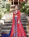 image of Ready to Ship Designer Fancy Printed Red And Blue Color Satin Sharara Top Lehenga