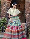 image of Ready to Ship Designer Cream Color Santoon Stylish Cape Style Printed Lehenga