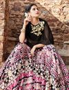 photo of Ready to Ship Trendy Multi Color Satin Designer Cape Style Fancy Printed Lehenga