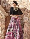image of Ready to Ship Trendy Multi Color Satin Designer Cape Style Fancy Printed Lehenga