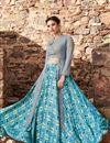 photo of Ready To Ship Fancy Cyan Color Satin Designer Printed Sharara Top Lehenga Choli