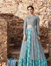 image of Ready To Ship Fancy Cyan Color Satin Designer Printed Sharara Top Lehenga Choli