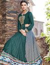 photo of Ready to Ship Designer Embellished Multi Color Satin Printed Sharara Top Lehenga