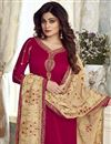 photo of Shamita Shetty Georgette Designer Embroidered Straight Cut Suit In Red