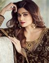 photo of Shamita Shetty Brown Embroidered Georgette Designer Straight Cut Dress
