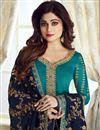 photo of Shamita Shetty Cyan Embroidered Georgette Designer Straight Cut Dress