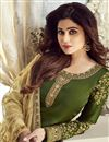 photo of Shamita Shetty Green Designer Embroidered Straight Cut Suit In Georgette