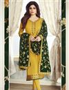 image of Shamita Shetty Georgette Embroidered Yellow Designer Straight Cut Dress