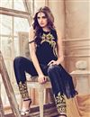 photo of Party Wear Embroidered Navy Blue And Beige Color Georgette Salwar Kameez