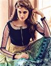 photo of Festive Wear Yellow And Navy Blue Color Embroidered Designer Bhagalpuri Silk Anarkali Dress