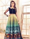 image of Festive Wear Yellow And Navy Blue Color Embroidered Designer Bhagalpuri Silk Anarkali Dress