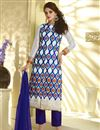 image of Off White Embroidered Georgette Salwar Suit-50009