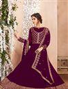 photo of Burgundy Color Georgette Designer Wedding Wear Anarkali Suit