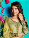 photo of Digital Print Khaki Color Straight Cut Salwar Kameez In Cotton Fabric