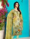 image of Digital Print Khaki Color Straight Cut Salwar Kameez In Cotton Fabric