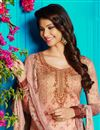 photo of Salmon Color Cotton Fabric Fancy Digital Print Party Wear Straight Cut Salwar Kameez