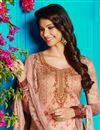 photo of Salmon Color Cotton Fabric Fancy Digital Print Party Wear Straight Cut Salwar Kameez