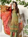 image of Cotton Fabric Khaki Color Digital Print Festive Wear Straight Cut Suit