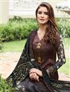 photo of Brown Satin Party Wear Straight Cut Salwar Suit