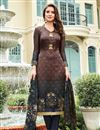 image of Brown Satin Party Wear Straight Cut Salwar Suit