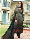 image of Satin Dark Beige Festive Wear Straight Cut Suit