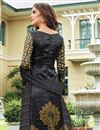 photo of Black Satin Party Wear Straight Cut Salwar Suit