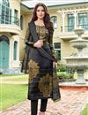 image of Black Satin Party Wear Straight Cut Salwar Suit