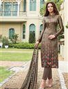 image of Satin Designer Printed Straight Cut Salwar Suit