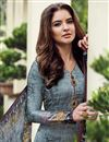 photo of Grey Designer Straight Cut Printed Salwar Kameez In Satin Fabric
