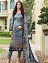 image of Grey Designer Straight Cut Printed Salwar Kameez In Satin Fabric