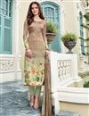 image of Satin Party Wear Designer Salwar Suit In Chikoo With Print Designs
