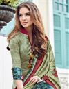 photo of Satin Party Wear Designer Salwar Suit In Cream With Print Designs