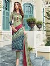 image of Satin Party Wear Designer Salwar Suit In Cream With Print Designs