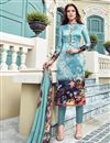 image of Occasion Wear Light Cyan Printed Salwar Kameez In Satin Fabric