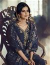 photo of Navy Blue Color Function Wear Art Silk Fabric Fancy Embroidered Sharara Dress