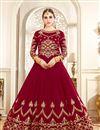 image of Georgette Designer Fancy Long Floor Length Anarkali Dress In Red