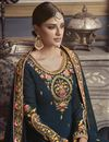 photo of Eid Special Designer Georgette Traditional Wear Embroidered Navy Blue Palazzo Suit