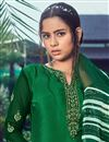 photo of Crepe Fabric Trendy Festive Wear Green Color Embroidered Patiala Dress