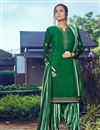 image of Crepe Fabric Trendy Festive Wear Green Color Embroidered Patiala Dress